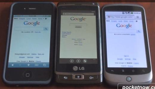 Web Browser Speed Test Between iPhone 4 vs Windows Phone 7 vs Nexus One[Video]