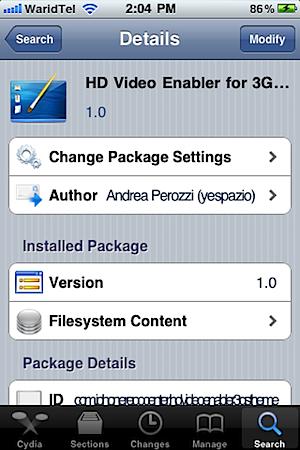 Download HD Video Enabler for iPhone 3GS[Cydia Tweak]