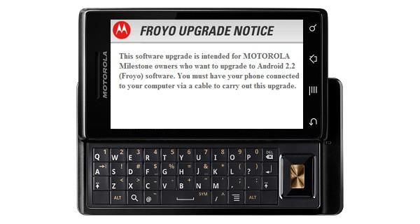 Motorola Milestone Gets Android 2.2 Froyo Update
