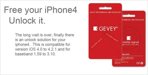 Unlock iPhone 4, iOS 4.3 / 4.2.1 On 2.10.04 / 3.10.01 Baseband With Gevey Turbo SIM