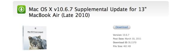 Apple Updated Mac OS X 10.6.7 For 13″ MacBook Air