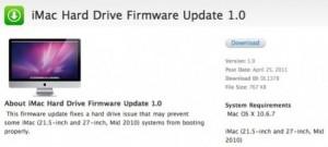 Apple Released iMac Hard Drive Firmware 1.0