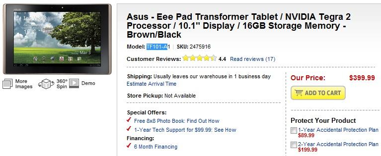 ASUS Eee Pad Transformer Tablet Back At Best Buy