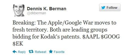 Apple and Google Kodak patent, Image credit: twitter.com