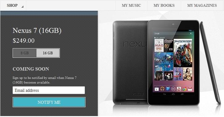 Google Nexus 7 16GB, Image credit: Google Play Store