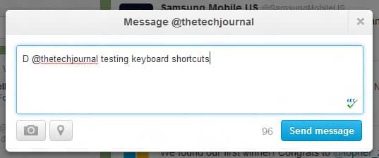Twitter shortcut for messaging