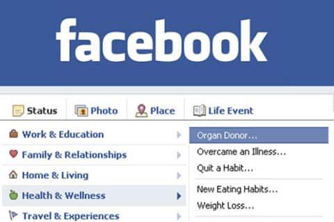 Facebook organ donation feature
