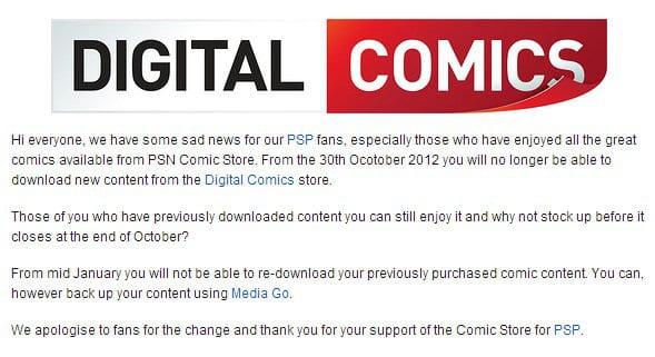 PSP Comic Store shutdown notice