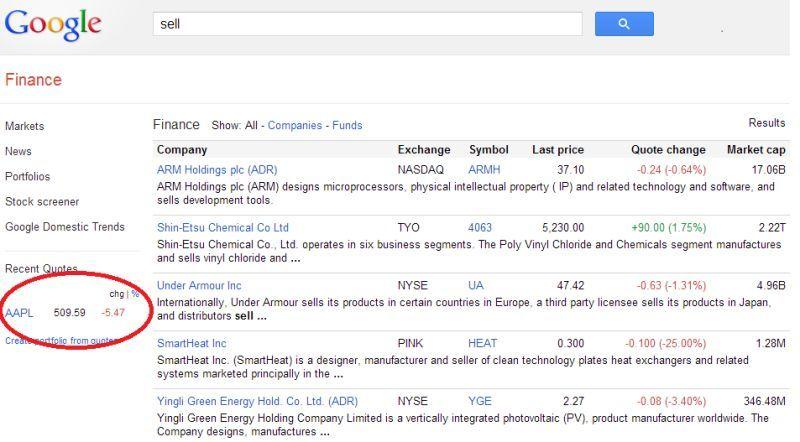 Google Finance Redirects To Apple Inc.
