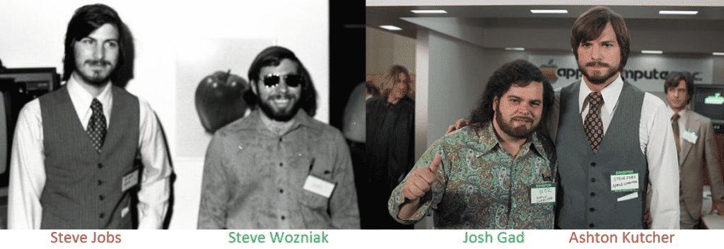 Ashton Kutcher and Josh Gad Representing Steve Jobs And Steve Wozniak