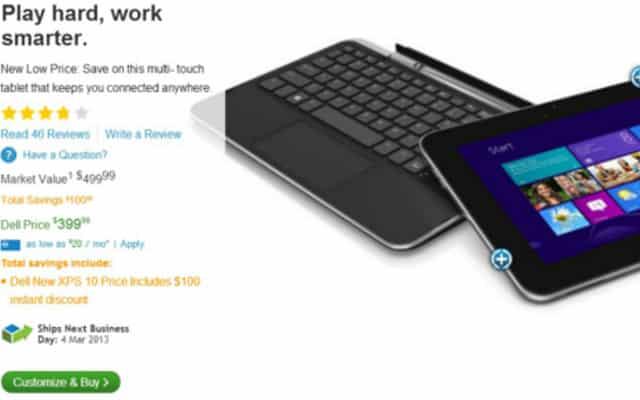Dell XPS 10 32GB Windows RT Tablet TTJ-1