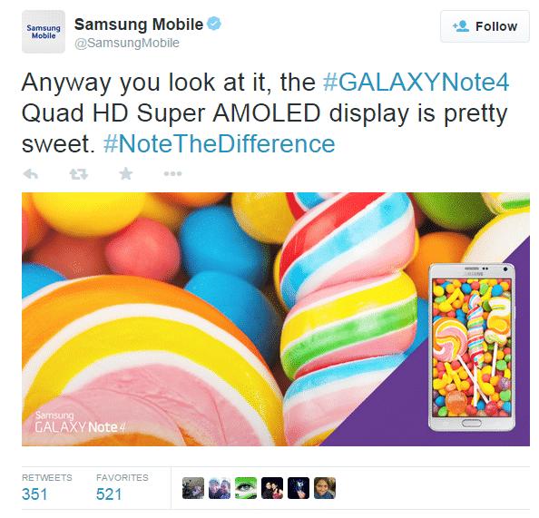 Tweet Of Samsung About Galaxy Note 4