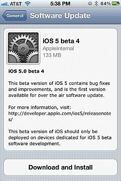 iOS 5 Beta 4 Released For Developer