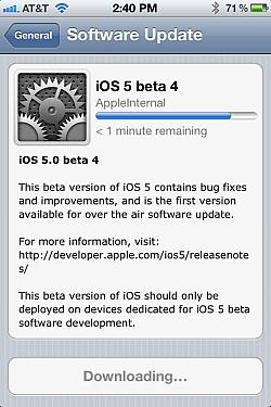 Apple Made iOS 5 Beta 4 As An OTA Update