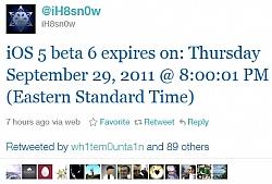 iOS 5 Beta 6 Will Expire On September 29th