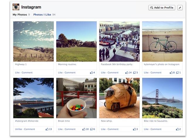 Instagram on Facebook Timeline