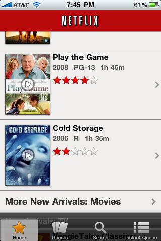 Netflix Running on the iPhone