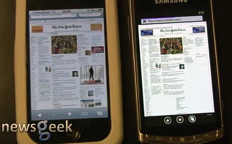 Web Browser Speed Test between Windows Phone 7 vs iOS 4[Video]